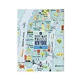 Talking Tables- Mapa Multicolor de 250 Piezas de Nueva York Jigsaw Puzzle & Poster   Ilustrado   Estados Unidos América NYC Monumentos Viajes cumpleaños, Color Puzzle (PUZZ-Map-NY)