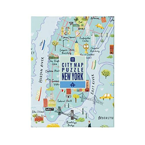 Talking Tables 250-teilige mehrfarbige Karte von New York Jigsaw Puzzle & Poster | Illustriert | USA Amerika NYC Sehenswürdigkeiten Reisen | Zu Hause, Lockdown, Geburtstagsgeschenk, Weihnachtsgeschen