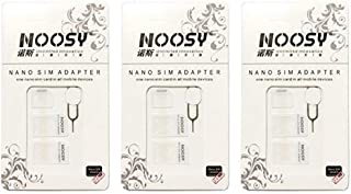 SIM Card Adapter KIT 3-Pack by Noosy (9 Total Adapters: Nano to Micro, Nano to Regular, Micro to Regular) with SIM Extractor/Pin Ejector (White)
