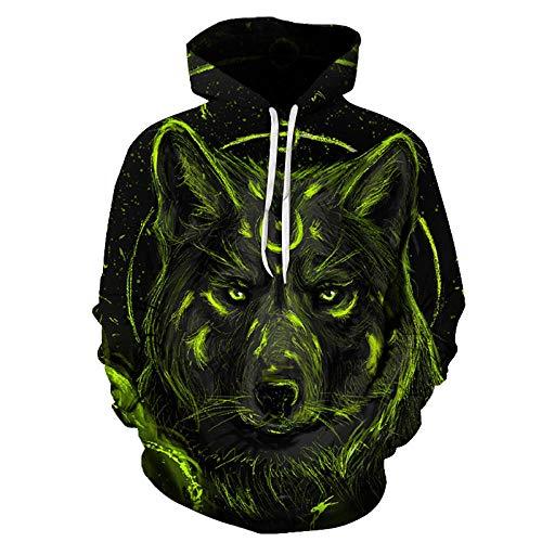 WYxiaobaozi 3D Druck Hoodie Unisex Casual Unisex Sweatshirt Sweatshirt Pullover Mit Taschen 3D Gedruckt Tier Grüne Wolf Paar Jacke - Yx 0714 - Baseball Uniform Für Schüler Top Coat-M