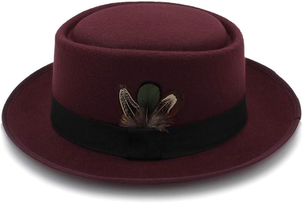 MUMUWU Women's Classic Wool Felt Black Pork Pie Hat Porkpie Jazz Fedora Hat Round Top Trilby Stingy Brim Feather Cap