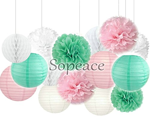 Sopeace 15 pcs Mixed Pink Mint Green White Party Decoration Kit Tissue Paper Pom Poms Flowers Paper Lanterns and Star Garland for Birthday,Baby,Bridal Shower,Room decor &Themed Party Decoration Favor