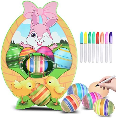 INFUN Easter Egg Decorator Kit Egg Painting Kit with Egg Spinner 8 Colourful Quick Drying Markers product image