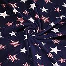 FabricLA Printed Fleece Fabric - 2 Yards (Patriotic Stars)