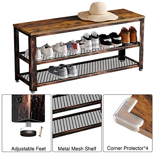 Rolanstar Shoe Bench, Sturdy 3-Tier Shoe Rack Bench with Stable Metal Frame, Rustic Storage Bench with Mesh Shelves for Entryway, Mudroom 39.4