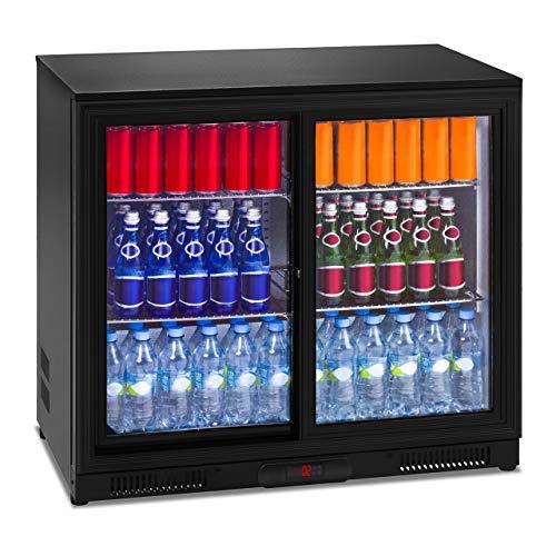 Royal Catering RCGK-208C Minibar Kühlschrank Getränkekühlschrank Flaschenkühlschrank mit Glastür (208 L, 2–10 °C, abschließbare Schiebetüren, Doppelglas, LED Beleuchtung, Schwarz)