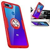 Xiaomi Mi 8 lite Case,360° Rotating Ring Kickstand Protective Case,TPU+PC Shock Absorption Double Protection Cover Compatible with [Magnetic Car Mount] for Xiaomi Mi 8 lite Case (Red/Silver)