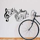 Creativo cantante de música Rock Super estrella guitarra nota letrero pentagramas DIY vinilo calcomanía dormitorio decoración del hogar arte pared pegatina regalo