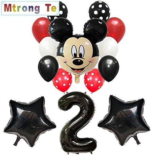 Globos Globo de decoración de Feliz cumpleaños Mickey Minnie Mouse Corazón de 18 Pulgadas Globo de Papel de xenón Globo de cumpleaños de bebé ( Ballon Size : 30inch , Color : Multi )