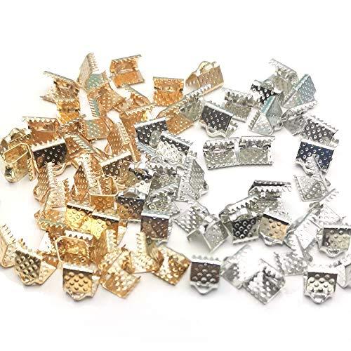 ワニ口 クリップ 6/8mm 約80個 4種 各20個 紐止め リボン留め具 接続金具 アクセサリー 基礎パーツ 手芸用品 ゴールド&シルバー (6mm+8mm)