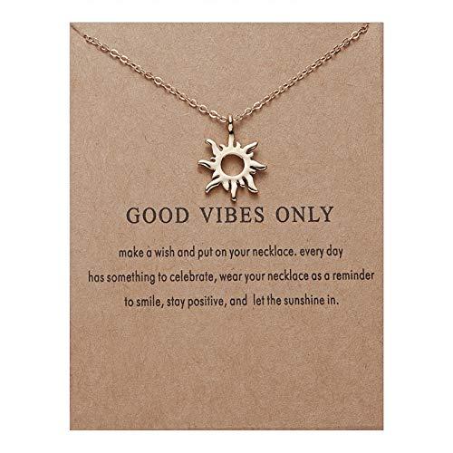 ZBOMR Collar de Sol Dorado con Cadena de clavícula, Collar con Colgante de Sol de Moda con Tarjeta de Mensaje, Collar de Amistad Exquisito para Mujer (Gold)