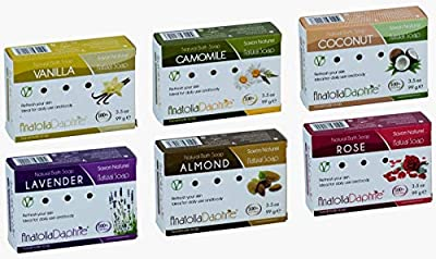 100% Natural Soap w/Organic Ingredients, Vegan, Moisturizing, Handmade, Scented w/Premium Essential Oils, Body Soap, Face Soap,and Bath Soap, Detox Spa Soap Bar Gift Set, 3.5 oz (Deluxe, Mix of 6)