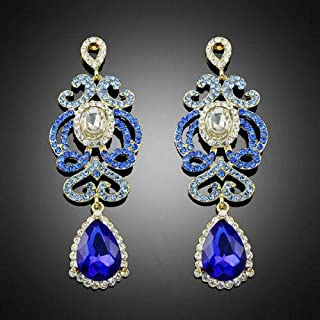 Long Blue Vintage Flower Rhinestone Crystal Fashion Women Wedding Party Earrings
