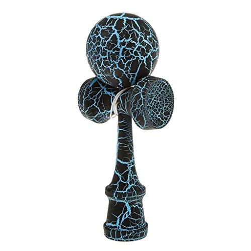 Kendama Japanisches Geschicklichkeitsspiel schwarz/Blauer Kugel Holz-Kugelfangspiel Marke PRECORN