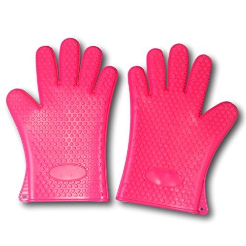 EKNA Silikon-Handschuhe | Ofenhandschuhe | Topfhandschuhe | Grillhandschuhe | Backhandschuhe | 1 Paar - Links & rechts | pink | für Küche Haushalt Grill - hitzebeständig & spülmaschinenfest
