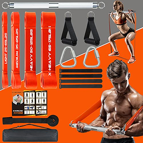 DASKING 500LBS Extra Heavy Home Gym Resistance Band Bar Set with 4 Levels Stackable Resistance Bands, Portable Full Body Workout Equipment Exercise Bar Kit,Workout Guide Included (Silver)