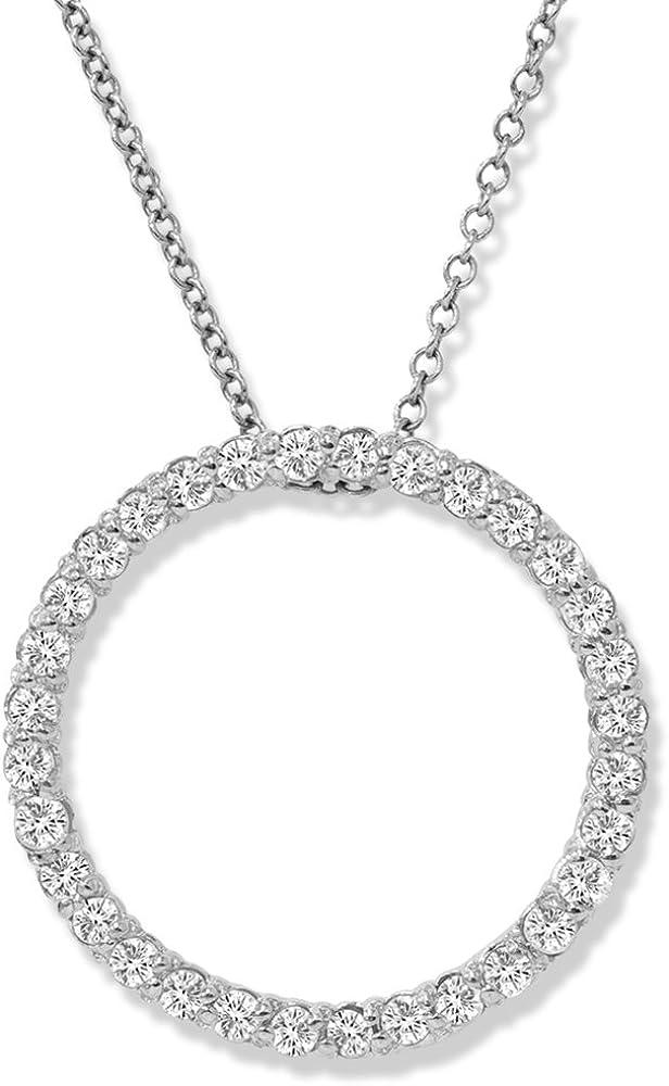 14K White Gold 1/2ct Circle Of Life Diamond Pendant