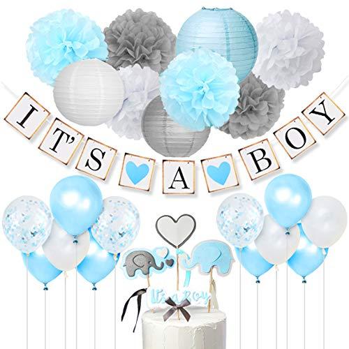 Babyparty Deko Junge - It's A Boy Girlande,Elefant Kuchendeckel Blauund Grey,Konfetti Luftballons,Blumenpuscheln für Taufe Geburtstag Baby Shower