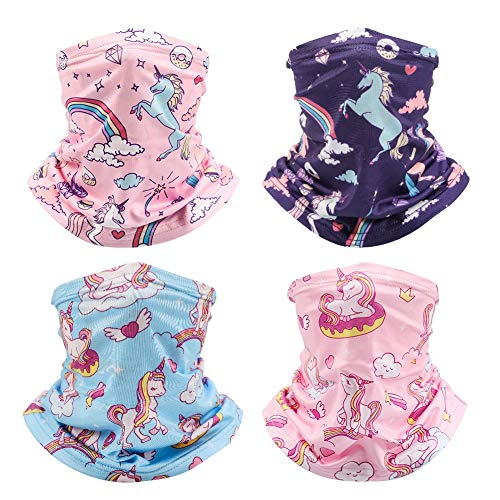 SUSSURRO 4Pcs Kids Neck Gaiter Bandana Scarf UV Protection Face Neck Cover for Hot Summer Cycling Hiking Sport Outdoor for Boys Girls Kids