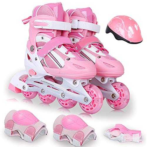 CYGJLYZ Roller Skate Kinder Full Set Mädchen Roller Schuhe Inline Skates Jungen Zeile Gerade 3-10 Jahre alt Anfänger Kinder Kleinkinder Kinder Jungen Erwachsene...
