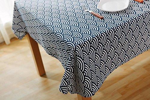 Coton & Lin Nappe Japonais Art Simple Style À Manger Table Tissu, Plusieurs Tailles Disponibles - Bleu LAD-I , 100*140cm