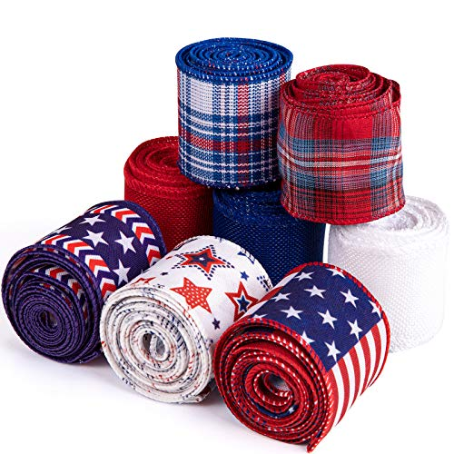 Whaline 8 Roll Independence Day Wired Edge Ribbon Patriotic Star Stripe USA Flag Burlap Ribbon 26 Yard Red Blue White Fabric Ribbon for 4th of July DIY Gift Wrapping Wreath Crafts Decor, 2.5 Inch