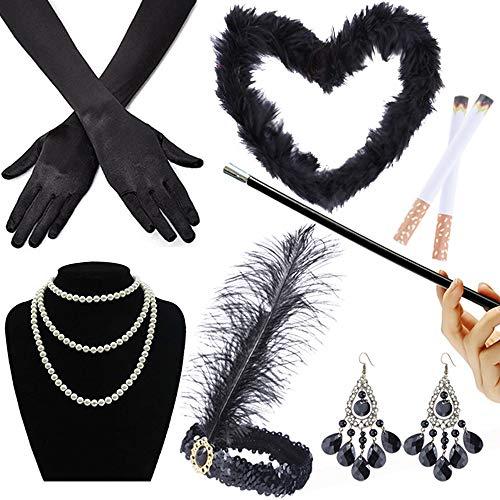 GOLDGE 1920er Jahre Zubehör Set Flapper Kostüm Accessoires Set Inklusive Schwarze Federboa Stirnband Halskette Handschuhe Zigarettenhalter (7-teiliges Set)