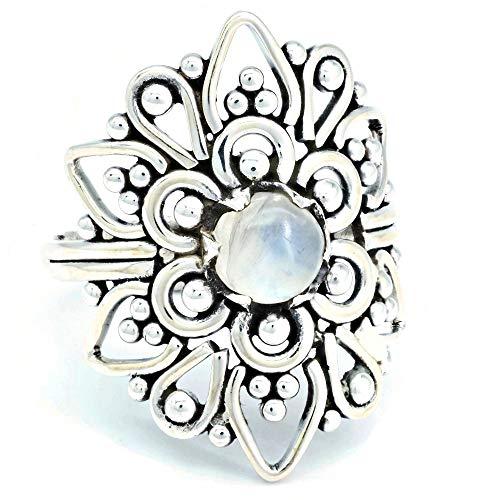 Ring Silber 925 Sterlingsilber Regenbogen Mondstein weiß Stein (Nr: MRI 174), Ringgröße:53 mm/Ø 16.9 mm