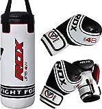 RDX Kinder-Boxsack, 61cm, MMA, schwer, inkl. Boxhandschuhe, gefüllt, Kickboxing, Muay Thai, weiß