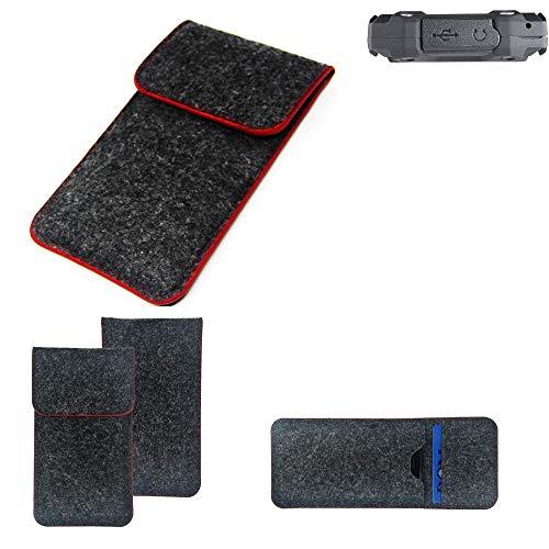 K-S-Trade Handy Schutz Hülle Für Simvalley Mobile SPT-210 Schutzhülle Handyhülle Filztasche Pouch Tasche Hülle Sleeve Filzhülle Dunkelgrau Roter Rand