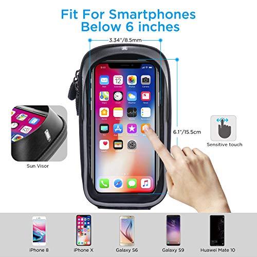 LEMEGO Wasserdicht Fahrradlenkertasche Handyhalterung Handyhalter Fahrrad Tasche Fahrradtasche Rahmentaschen für Handy GPS Navi und andere Edge bis zu 6 Zoll Geräte - 2
