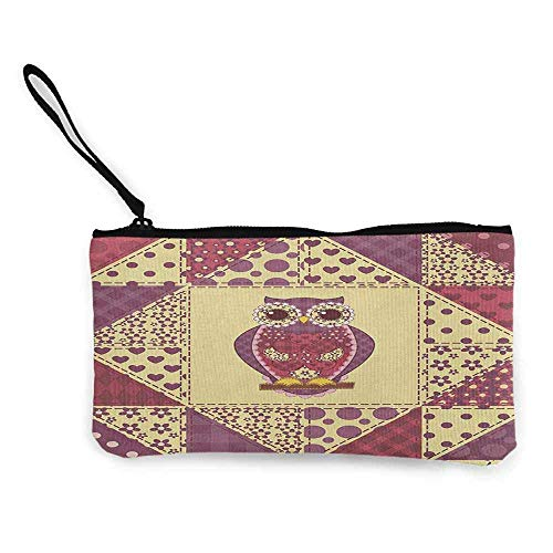 """TTmom Carteras de Mujer,Monedero,Owl Vintage Inspired Owl Pattern Invisible to Prey Nocturnal Mimicking Predator Wallet Coin Purses Clutch W 8.5\"""" x L 4.5\"""" Purple Pink Yellow"""