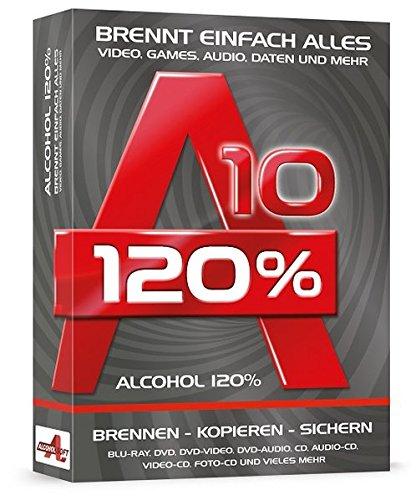 Alcohol 120% 10, CD-ROM Brennt einfach alles. Video, Games, Audio Daten und mehr. Brennen - Kopieren - Sichern. Blu-ray, DVD, DVD-Video, DVD-Audio, CD, Audio-CD, Video-CD, Foto-CD und vieles mehr