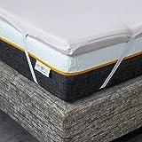 ComfyLine - Topper Matrimoniale 160x190 Correttore in Memory Foam 5,5 cm Lavorazione a 7 Zone per Materasso - Fodera in Cotone Traspirante con Angoli - Made in Italy