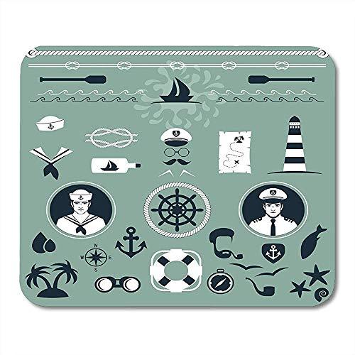 Muis Pads Hoed Navy Anker Zeevaarder Kapitein En Zeeschip Boot Touw Mouse Pad Voor Notebooks Computers Muismatten Supplies - 9.4x7.8 inch