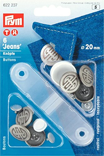 Prym Art Deco Jeans Knöpfe aus antikem Stahl–6Stück pro Packung