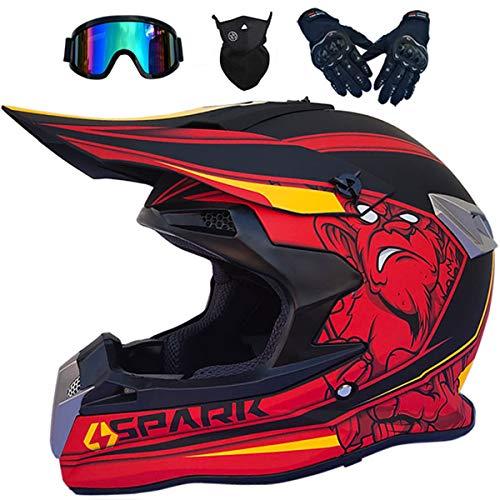 Set de Casco de Motocross para Niños - 4 Piezas (MJH-02 Negro Rojo/Spark S~XXL/52-63cm + Gafas Downhill + Guantes + Máscara) Cascos de Moto para Niños y Adultos - Casco de Cross MTB de Integral
