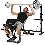Kepteen 330lbs Adjustable Olympic Weight Bench with Preacher Curl, Leg Developer, Multi-Functional Weight Bench Set Power Tower Workout Dip Station for Indoor Exercise