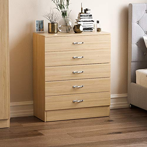 Vida Designs Pine Chest of Drawers, 5 Drawer With Metal Handles and Runners, Unique Anti-Bowing Drawer Support, Riano Bedroom Furniture