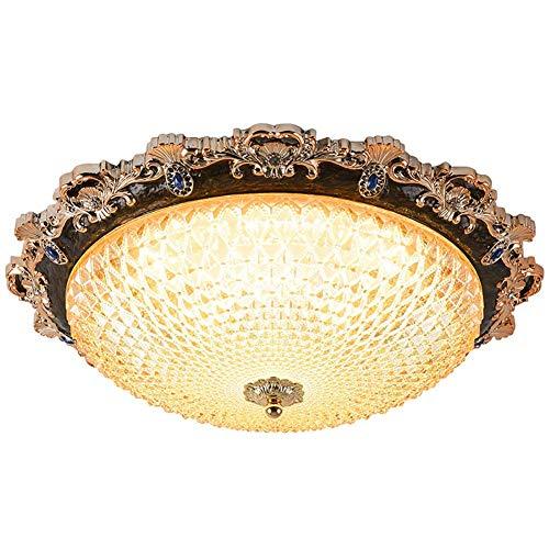 lámpara de techo,lámpara de techo retro LED regulable Lámpara de techo de sala de estar con pantalla de vidrio mate semicircular Lámpara de techo de restaurante europeo Lámparas...