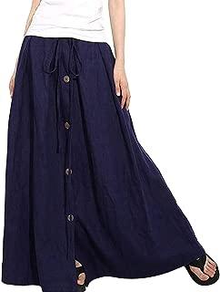 NREALY New Women's A-Line Elastic Waist Casual Button Flare Full Length Long Maxi Skirt