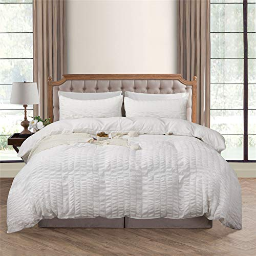 Duvet Cover Set King , Seersucker Stripe Textured 100% Washed Microfiber 1 Duvet Cover with Zipper and 2 Pillowcases, Ultra Soft and Easy Care, Simple Style Farmhouse Comforter Cover Set (White/King)