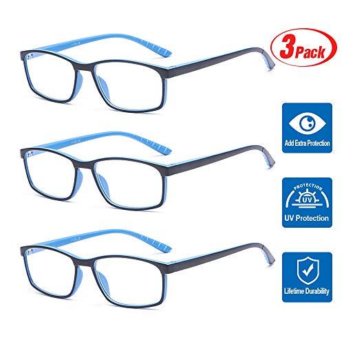 Suertree Blaulicht Brille 3pcs Blaulichtfilter Lesebrille Computerbrille Sehhilfe Augenoptik Lesehilfe für Damen Herren 3.0x