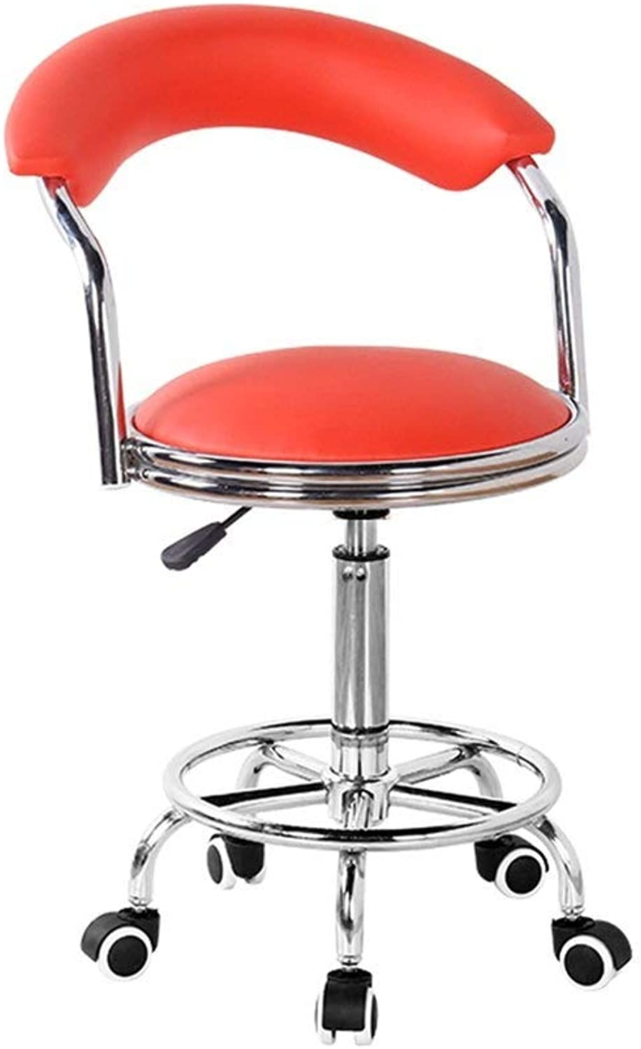 Home Beauty Salon Stool Backrest High Chair redatable Stool Creative Dining Chair GMING (color   orange)
