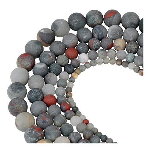 HETHYAN Cuentas redondas de ojo de tigre esmerilado mate, con piedras naturales de sandía y perlas sueltas para hacer joyas de pulsera (color: jaspe de lujo de África, tamaño: 10 mm-36 piezas)