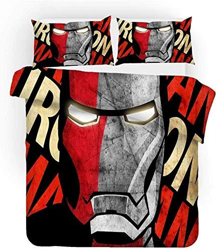 Spider-Man Iron Man - Juego de ropa de cama, diseño del Capitán América, funda nórdica ligera de microfibra, adecuado para todas las estaciones (Iron Man-3, 220 x 240 cm + 50 x 75 cm x 2)
