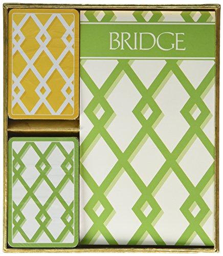 Caspari Trellis Bridge Set incl. 2 decks speelkaarten/4 SCORE Pads/4 potloden, hout, meerkleurig, 7,8 x 20,35 x 0,55 cm