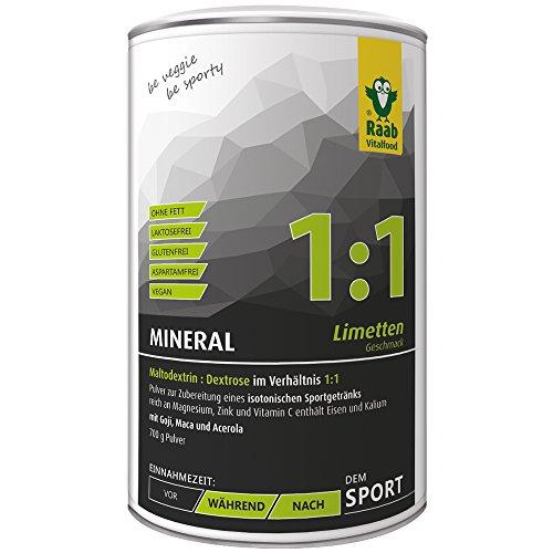Raab Vitalfood Mineral Limette, isotonisches Getränk, Getränke-Pulver, leicht löslich, isotonisch, vegan, glutenfrei, mit Goji, Acerola und Maca, 1er Pack (700 g Dose)