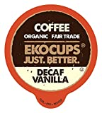 EKOCUPS Decaf French Vanilla Coffee Pods, Swiss Water Decaffeinated Coffee, Hot or Iced Decaf Coffee, Organic Coffee for Keurig K Cups Machines, Decaf Coffee in Recyclable Pods, 40 Count
