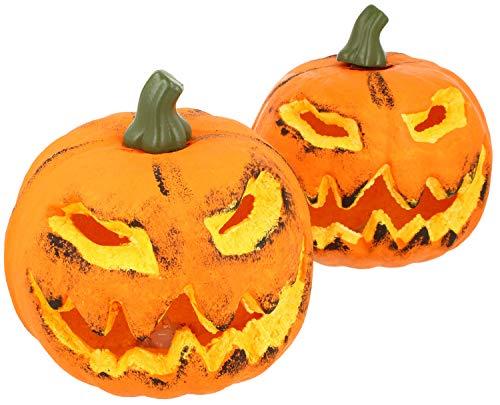 com-four® 2X Calabaza con iluminación LED - Linterna para Halloween y otoño - Calabaza Deco con una Sonrisa aterradora (002 Piezas - Calabaza 16 cm)